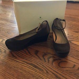 Kate Spade brown satin wedge shoes (7.5)